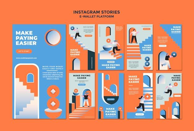 E-wallet-app social-media-geschichtensammlung