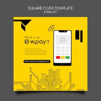 E-wallet quadratischer flyer-vorlage
