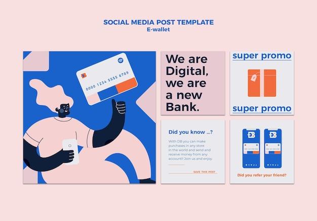 E-wallet social-media-post-designvorlage