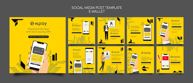 E-wallet social-media-postsammlung