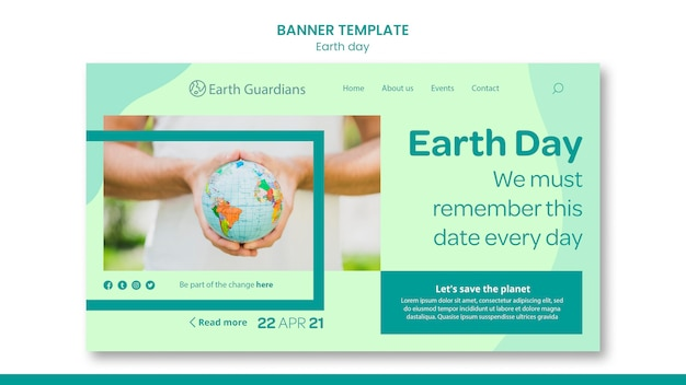 Earth day konzept banner vorlage