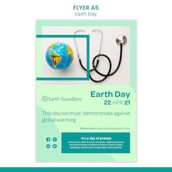 Earth day konzept flyer vorlage