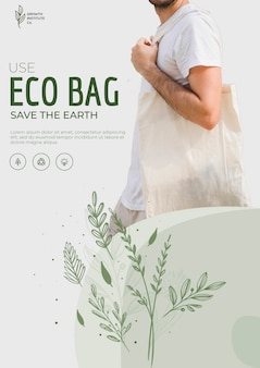 Eco bag recycling für umwelt flyer vorlage