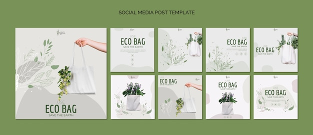Eco bag recycling für umwelt social media post vorlage