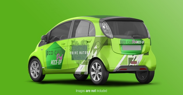Eco car mockup zurück perspektive ansicht