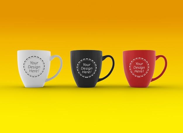Editable mock up design-vorlage von drei tassen stehend