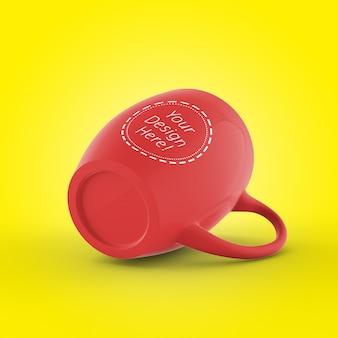 Editierbare 3d render cafe mug mockup vorlage