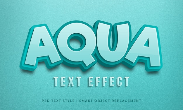 Editierbarer 3d-textstil-psd-effekt mit aquablauer farbe