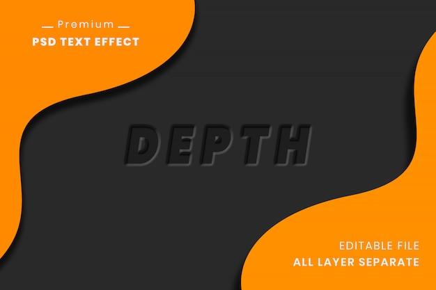 Effekt des textes der tiefe 3d über schwarzem hintergrund
