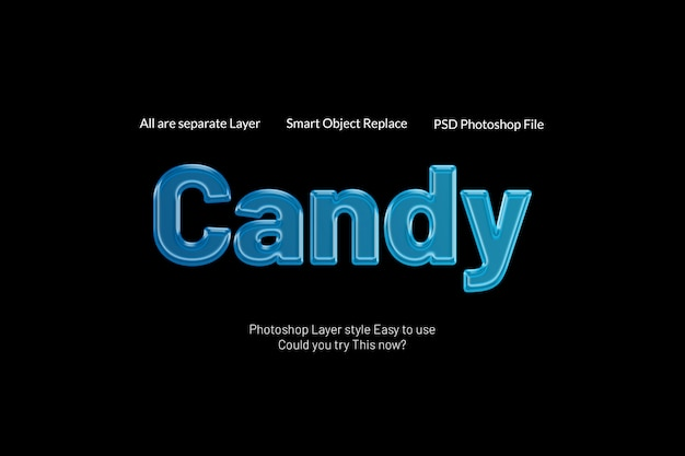 Ehrfürchtiger kreativer moderner text-art-effekt der süßigkeits-3d