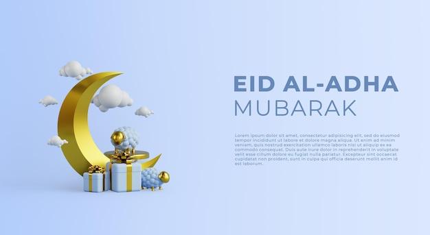 Eid al adha mubarak hintergrundvorlage mit schafen und mond 3d-rendering