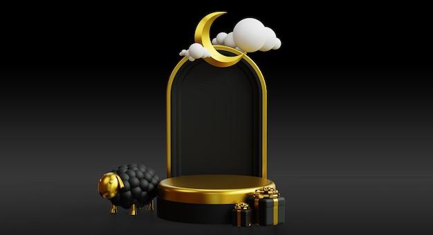 Eid al adha podium für förderung mit 3d goldenem realistischem islamischem hintergrund