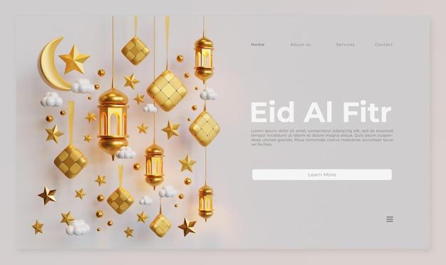 Eid al fitr landing page vorlage mit 3d-rendering von ketupat