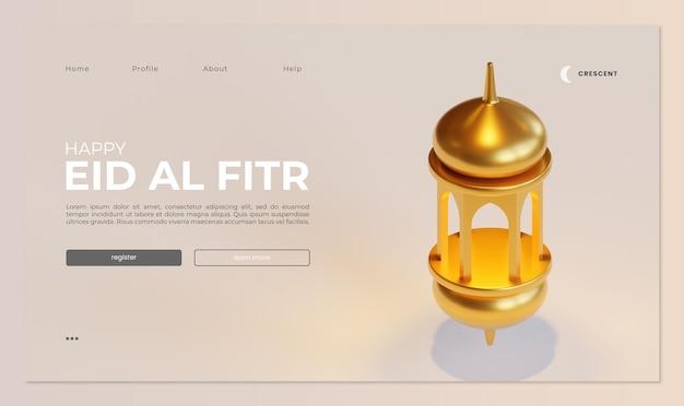 Eid al fitr landing page vorlage mit fanous 3d-rendering