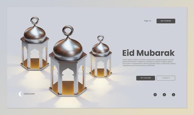 Eid mubarak landing page template mit 3d-rendering von fanous lantern