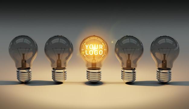 Ein logomodell von hellen glühlampen, die auf den boden legen