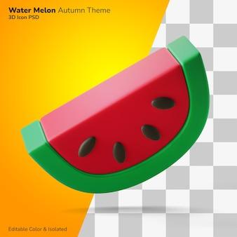Ein stück reife frische wassermelone 3d-darstellung-rendering-symbol editierbar isoliert