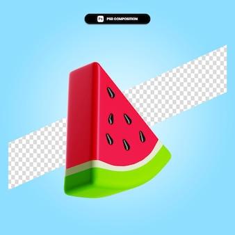 Ein stück reife frische wassermelone 3d-render-illustration isoliert