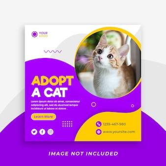 Eine social-media-beitragsvorlage für haustiere oder zoohandlungen adoptieren