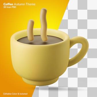 Eine tasse heißen kaffee 3d-darstellung, die 3d-symbol editierbar isoliert rendert