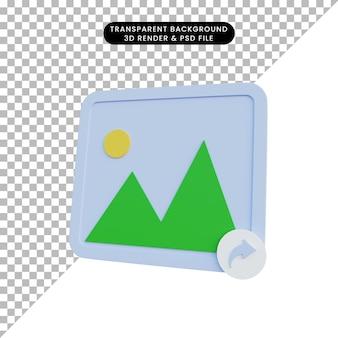 Einfache icon-galerie der 3d-darstellung mit share-symbol