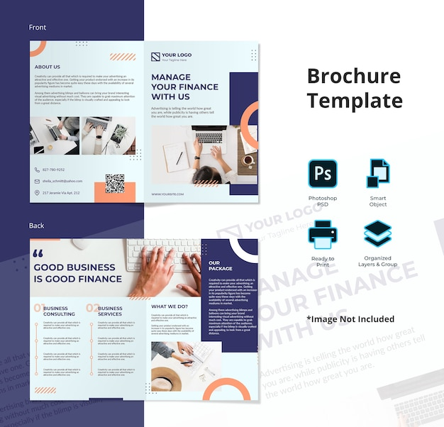 Einfache memphis finance bifold broschürenvorlage