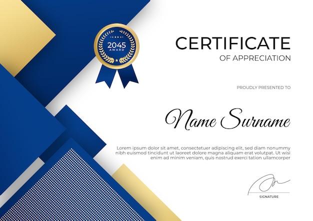 Einfache moderne blaue gold-zertifikatsvorlage für business corporate school education webinar