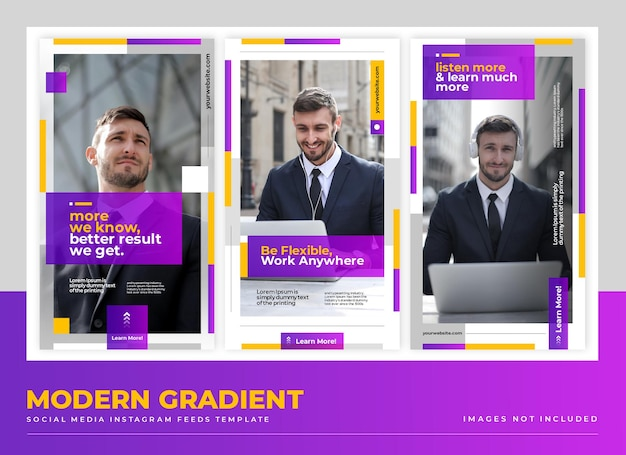 Einfache moderne gradient social media stories template