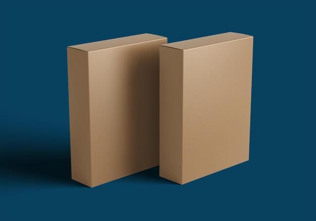 Einfache seitenansicht des verpackungsbox-konzeptmodells