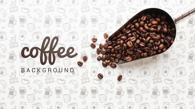 Einfache tapete mit kaffeebohnen