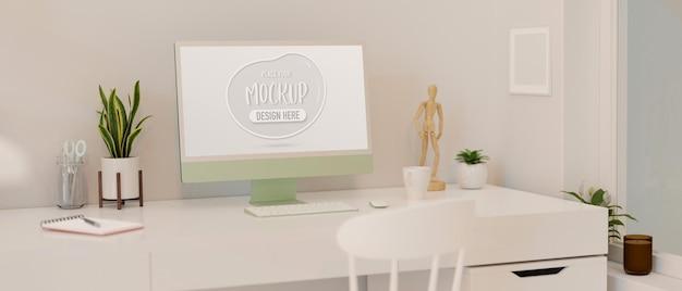 Einfacher arbeitsbereich mit schreibwaren und dekorationen für computergeräte im home-office 3d-rendering