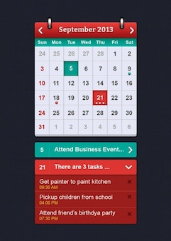 Einfacher kalender schnittstelle psd