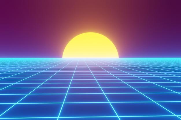 Einfacher retro-futuristischer hintergrund im 80-stil