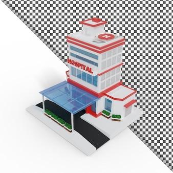 Einfaches isometrisches 3d-krankenhaus-illustrations-rendering