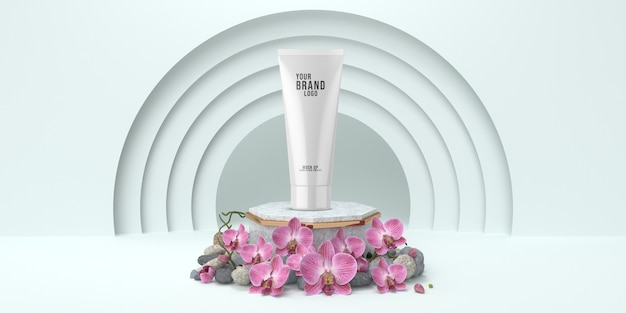 Einfaches kosmetisches schablonenstudio mit weißer farbe 3d des podiums übertragen