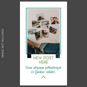 Einfaches, kreatives, modernes fotomodell und instagram-geschichten-schablone für social media-profil