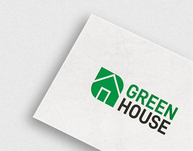 Einfaches logo-modell auf weißer visitenkarte