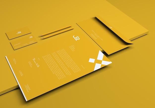 Einfaches minimalistisches branding-briefpapier-mockup-set