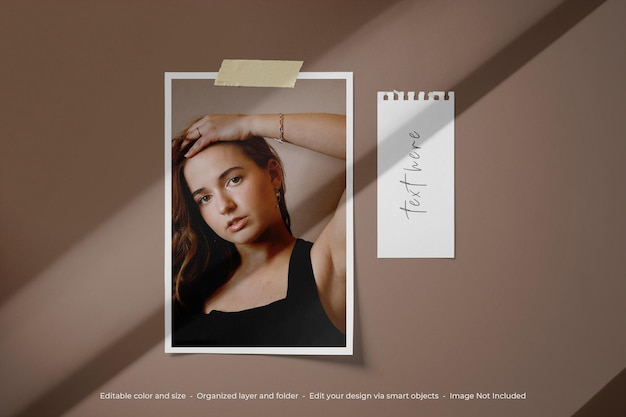 Einfaches minimalistisches moodboard foto polaroid mockup
