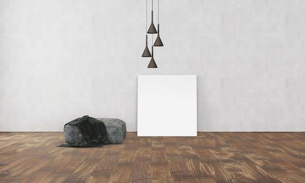Einfaches modernes interieur mit box sofa lampe und leerem plakat