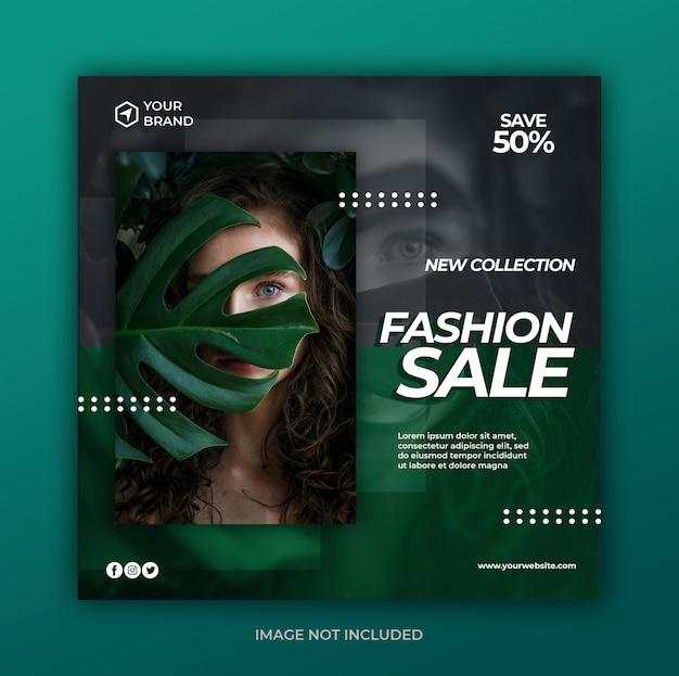 Einfaches modernes modeverkaufsbanner oder quadratischer flyer für social-media-post-vorlage