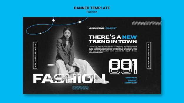Einfarbige horizontale bannerschablone für modetrends mit frau