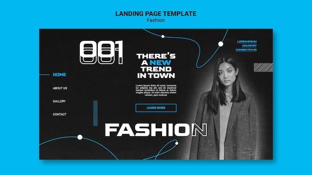 Einfarbige landingpage für modetrends mit frau
