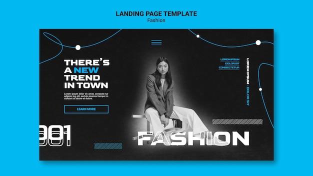 Einfarbige landingpage-vorlage für modetrends mit frau