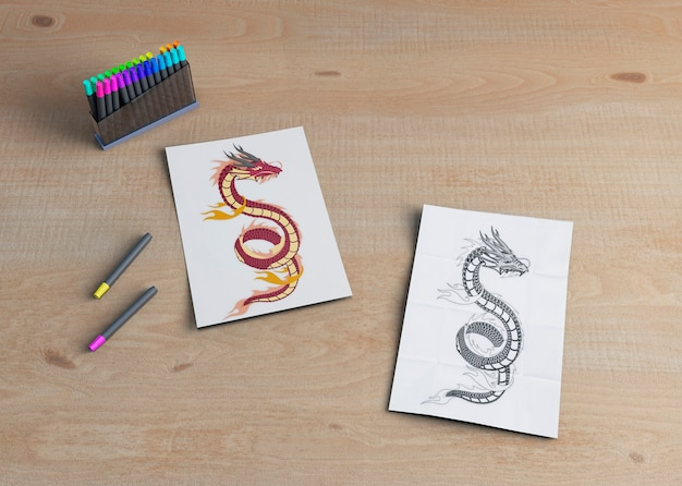 Einfarbige und bunte skizze