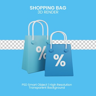 Einkaufstasche mit produktrabatt. 3d-illustration