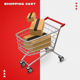 Einkaufswagen-rendering isoliert
