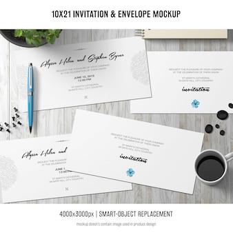 Einladung und umschlagmodell