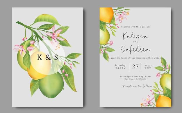 Einladungskarte mit aquarell zitronenillustrationsdekoration Premium PSD