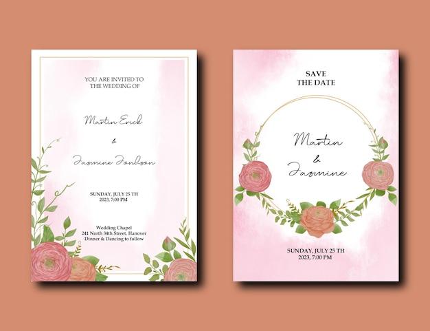 Einladungskarten-aquarell-design mit pfingstrosenblume und grünen blättern